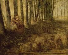 Bergère et troupeau (esquisse) (Jean-François Millet) - Muzeo.com