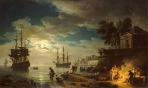 La Nuit : un port de mer au clair de lune (Vernet Joseph) - Muzeo.com