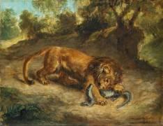 Lion et caïman (Delacroix Eugène) - Muzeo.com