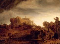 Paysage au château (Rembrandt) - Muzeo.com