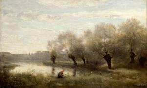Saulaie à la pointe d'un marais. (Jean-Baptiste Camille Corot) - Muzeo.com