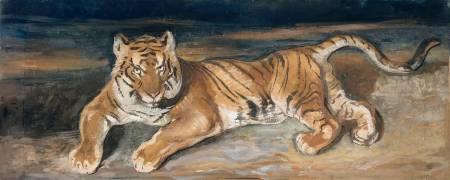 Tigre couché (Antoine Louis Barye) - Muzeo.com