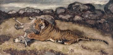 Tigre dévorant un onagre (Barye Antoine Louis) - Muzeo.com