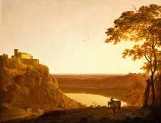 Vue du lac de Nemi au soleil couchant (Wright Joseph) - Muzeo.com