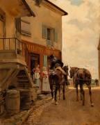 Auberge au pont de Poissy (le postillon) (Jean-Louis-Ernest Meissonier) - Muzeo.com