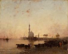 En Egypte : l'abreuvoir au crépuscule (Narcisse Berchère) - Muzeo.com