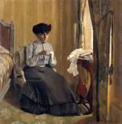 Femme cousant dans un intérieur (Vallotton Félix) - Muzeo.com
