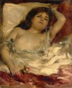 Femme demie-nue, couchée : la rose (Renoir Auguste) - Muzeo.com