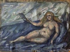 Femme nue au miroir (Cézanne Paul) - Muzeo.com