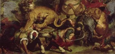 La Chasse aux lions (Eugène Delacroix) - Muzeo.com
