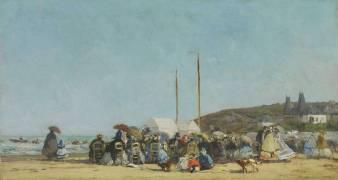 La plage de Trouville (Boudin Louis-Eugène) - Muzeo.com