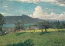 Les pommiers en Savoie ; vue du lac du Bourget (Durand Charles Auguste Emile) - Muzeo.com