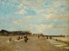 Normandes étendant du linge sur une plage (Boudin Louis-Eugène) - Muzeo.com