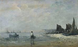 Pêcheur à Villerville, marée basse (Boudin Louis-Eugène) - Muzeo.com