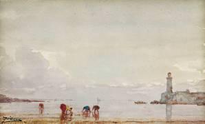 Pêcheurs de coquillages à Antibes (Ziem Félix) - Muzeo.com