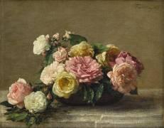 Roses dans une coupe (Henri Fantin-Latour) - Muzeo.com
