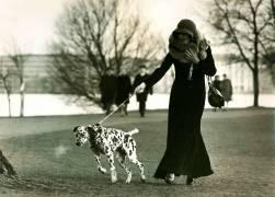 Portrait of a Lady with Dalmatian on a leash (Schaffrath Uwe) - Muzeo.com