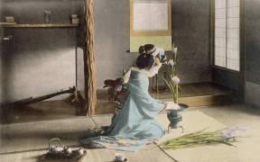 Girl arranging flowers (anonyme) - Muzeo.com