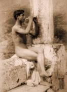 Study of a boy playing a flute (Wilhelm von Gloeden) - Muzeo.com